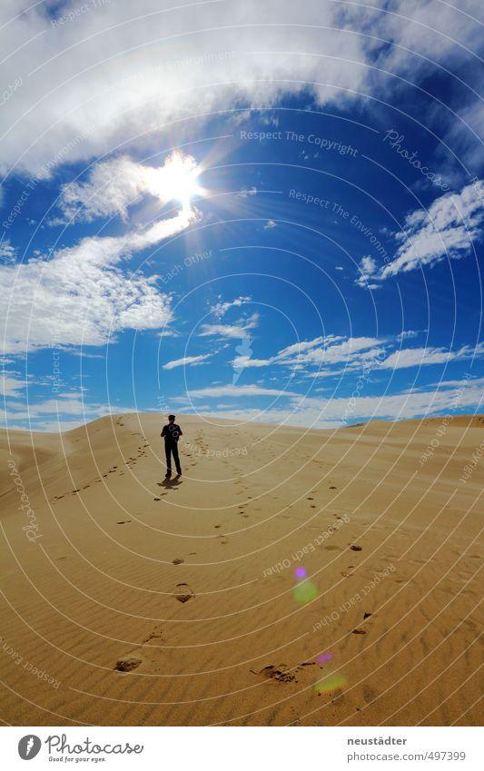 Wüste Ferien & Urlaub & Reisen Ausflug Abenteuer Ferne Freiheit Expedition Sommer Sonne Strand wandern Landschaft Sand Himmel Wolken Horizont Sonnenlicht