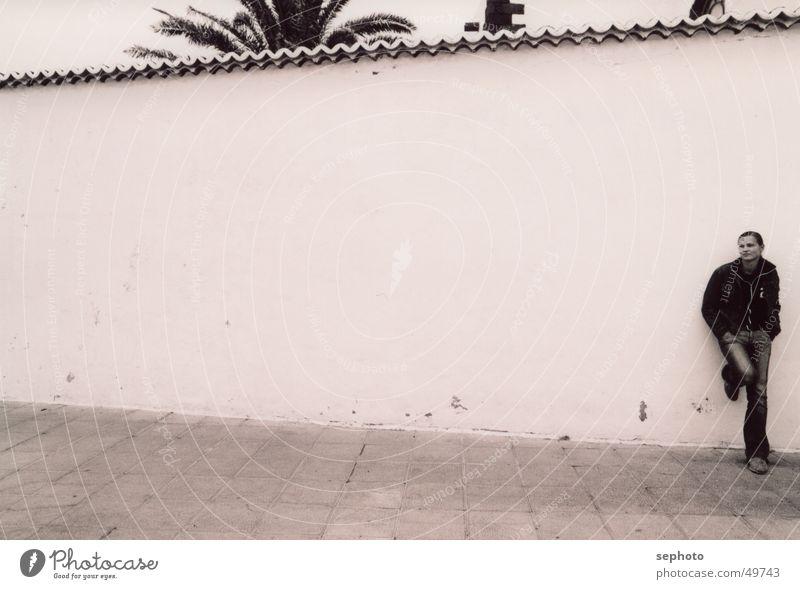 Teguise im Nebel Frau weiß ruhig träumen Mauer Schuhe Beine Nebel Hintergrundbild Elektrizität Platz Backstein Spanien Palme verträumt bedecken