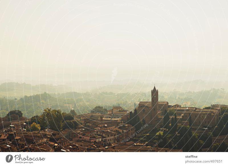 La bellezza del momento Landschaft Wolkenloser Himmel Sonnenlicht Schönes Wetter Siena Italien Toskana Kleinstadt Altstadt Skyline Haus Kirche ästhetisch