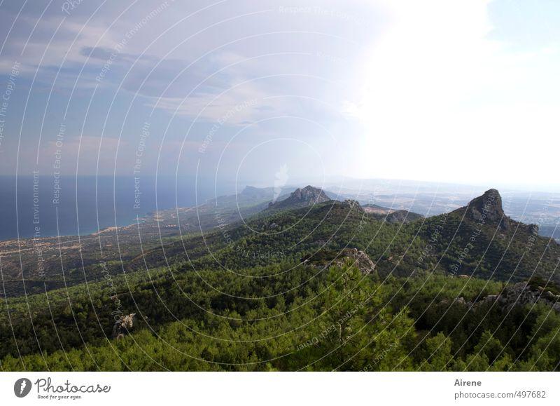 schöpfung dritter tag Himmel Natur blau grün Wasser Pflanze Meer Landschaft Wolken Wald Berge u. Gebirge Luft Wetter Urelemente Unendlichkeit rein