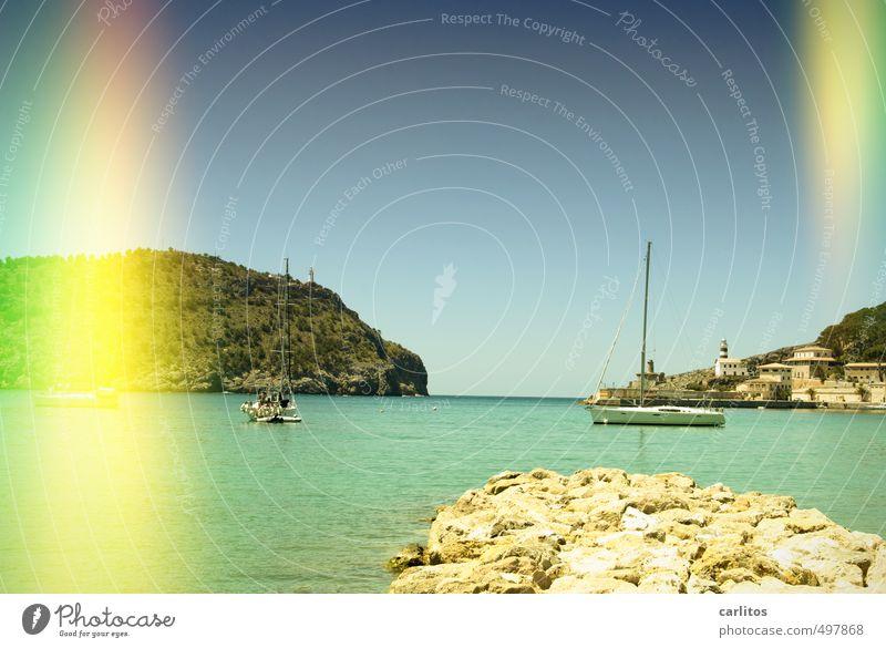 Urlaub machen, wo andere arbeiten ... Natur Urelemente Luft Wasser Himmel Wolkenloser Himmel Sommer Schönes Wetter Wärme Küste Bucht Meer ästhetisch