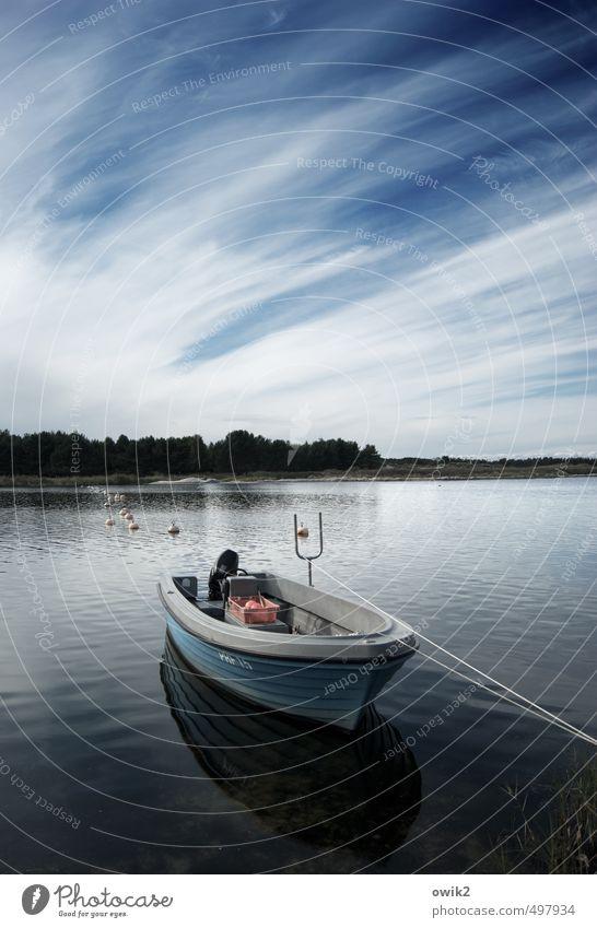 Beruhigungsmittel Umwelt Natur Landschaft Luft Wasser Himmel Wolken Horizont Klima Wetter Schönes Wetter Küste Strand Bucht Schifffahrt Fischerboot Seil