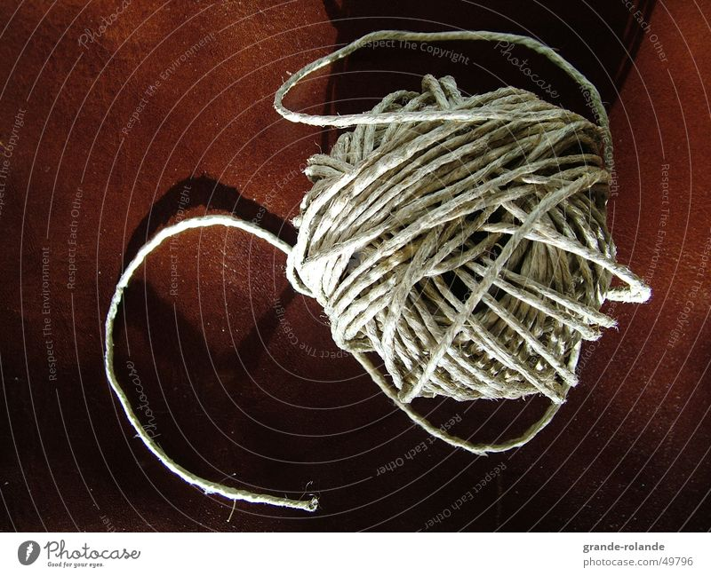 Schnur braun Beginn Leder Nähgarn ziehen binden festbinden