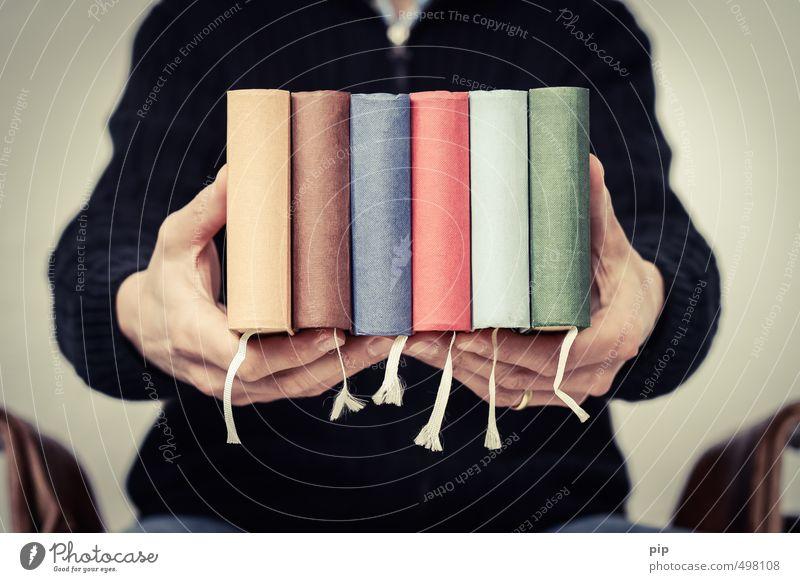 buchhaltung Mensch maskulin Mann Erwachsene Hand Finger 1 Printmedien Buch retro blau braun mehrfarbig gelb grün rot schwarz buchumschlag Lesezeichen 6 Leinen