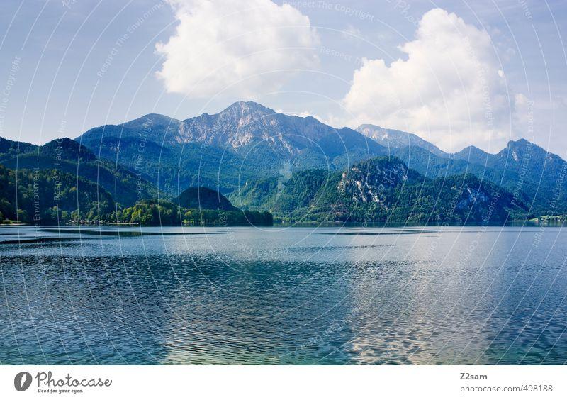 Kochelsee ruhig Ferien & Urlaub & Reisen Sommer Umwelt Natur Landschaft Himmel Wolken Schönes Wetter Alpen Berge u. Gebirge Seeufer nachhaltig natürlich