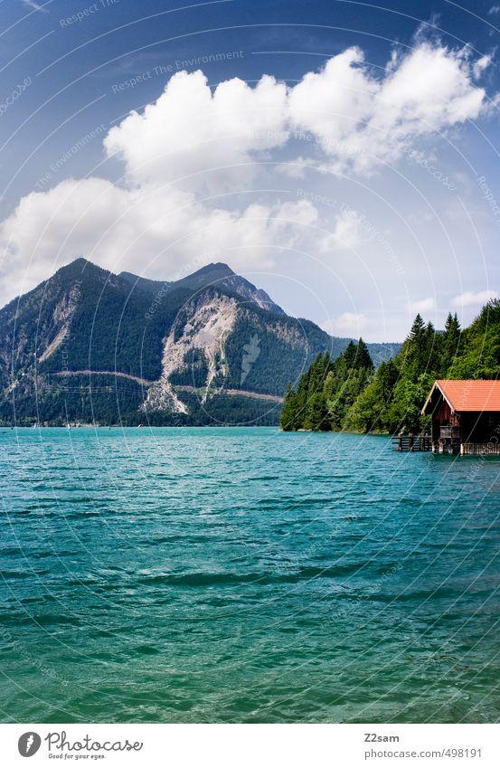 Walchensee Himmel Natur blau grün Wasser Sommer Baum Erholung Einsamkeit Landschaft ruhig Wolken Ferne Umwelt Berge u. Gebirge See