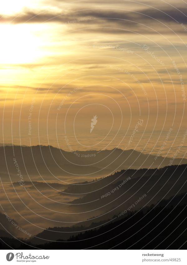 wolkenmeer Wolken Nebel Schwarzwald Sonnenuntergang Berge u. Gebirge Wolkenfeld Wolkendecke