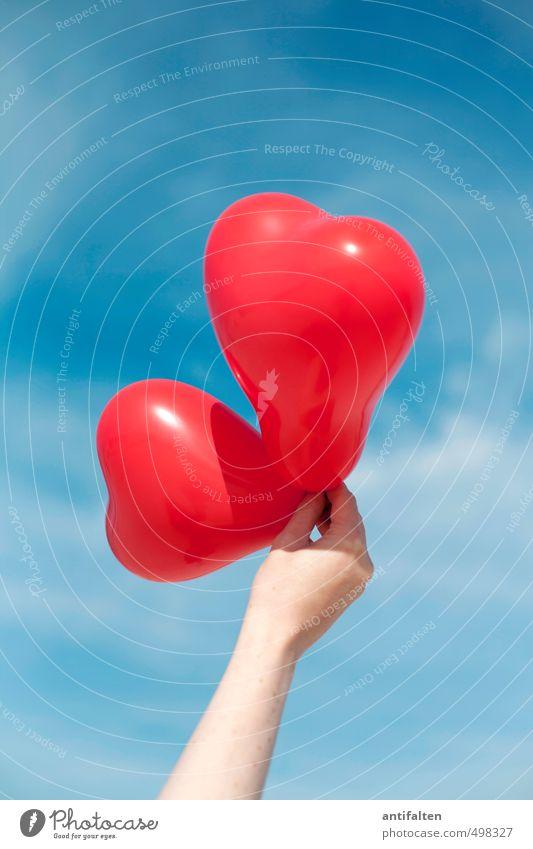 Ein Herz für... | Tiere Mensch Frau Himmel Jugendliche blau Sommer Sonne Hand rot Junge Frau Freude Wolken 18-30 Jahre Erwachsene Leben Liebe