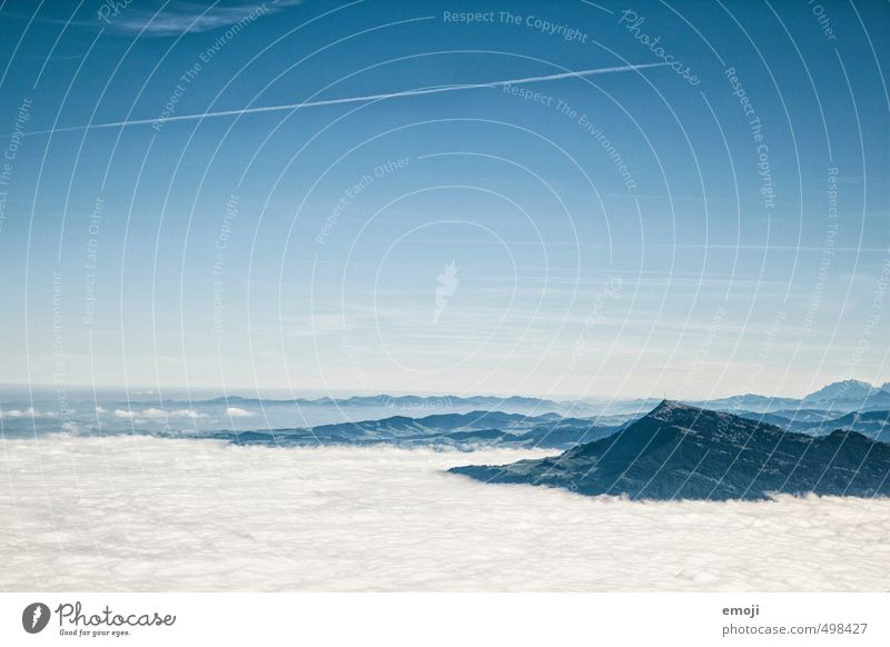 Blick vom Pilatus Umwelt Natur Landschaft Himmel Wolkenloser Himmel Herbst Schönes Wetter Alpen Berge u. Gebirge natürlich blau Nebelmeer Schweiz Farbfoto