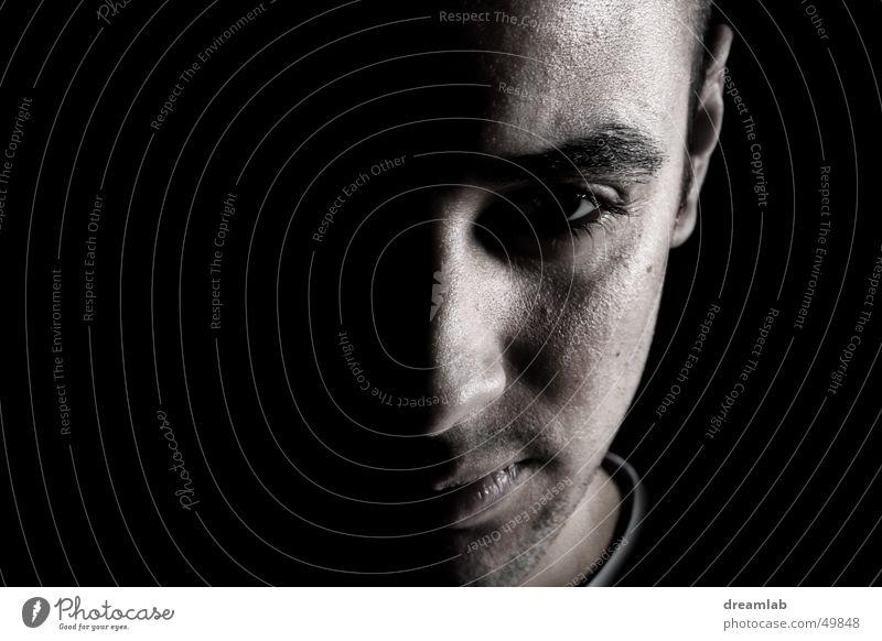 Half Frontal Mann Gesicht dunkel Erfolg Hälfte frontal Entschlossenheit zielstrebig Pore auftauchen