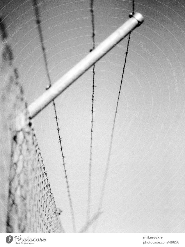 Stacheldraht Mauer Wand Schranke Metall kalt Sicherheit Schutz Angst Konzentrationslager Zaun abweisend Draht abgeschirmt Eisen Grenze Barriere Stab Flüchtlinge