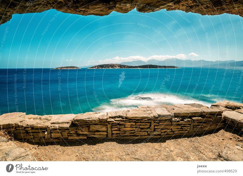 Frei Himmel blau weiß Wasser Sommer Wolken Küste Felsen Horizont braun Wellen Idylle Schönes Wetter Insel Urelemente Hoffnung