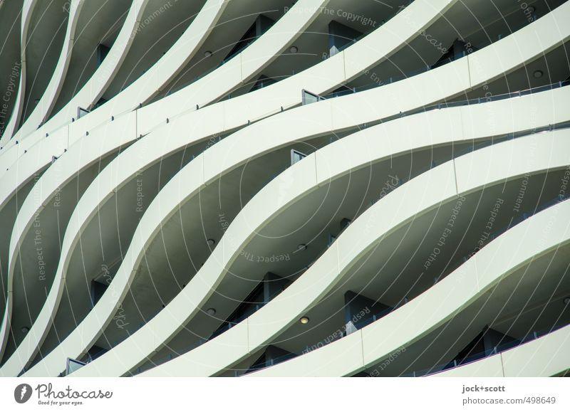 wave-like Stadt Bewegung Gebäude Stil außergewöhnlich Linie Kunst Fassade Ordnung elegant Design modern ästhetisch Beton Kreativität Streifen