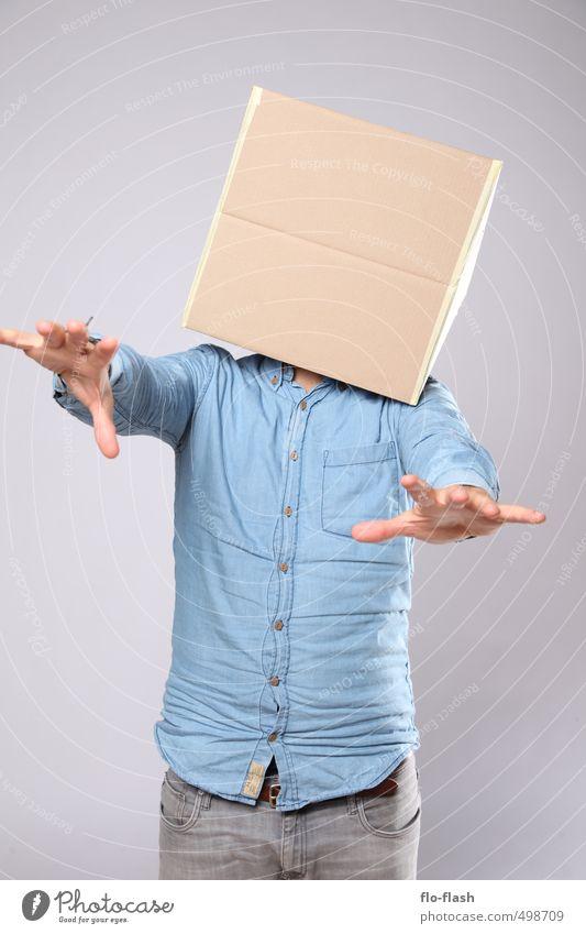 DAS MONSTER DES DR. ECKART lernen maskulin Junger Mann Jugendliche Erwachsene 1 Mensch 18-30 Jahre Skulptur Hemd Maske Paket fangen laufen schreien bedrohlich