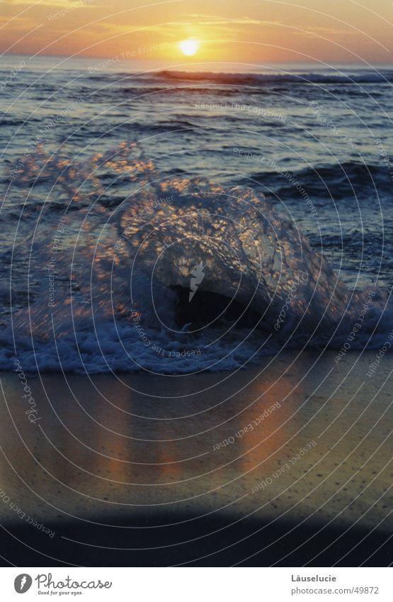 wellenbrecher Meer Frankreich Atlantik Sommer Sonnenuntergang Wellen Strand Wasser Stein