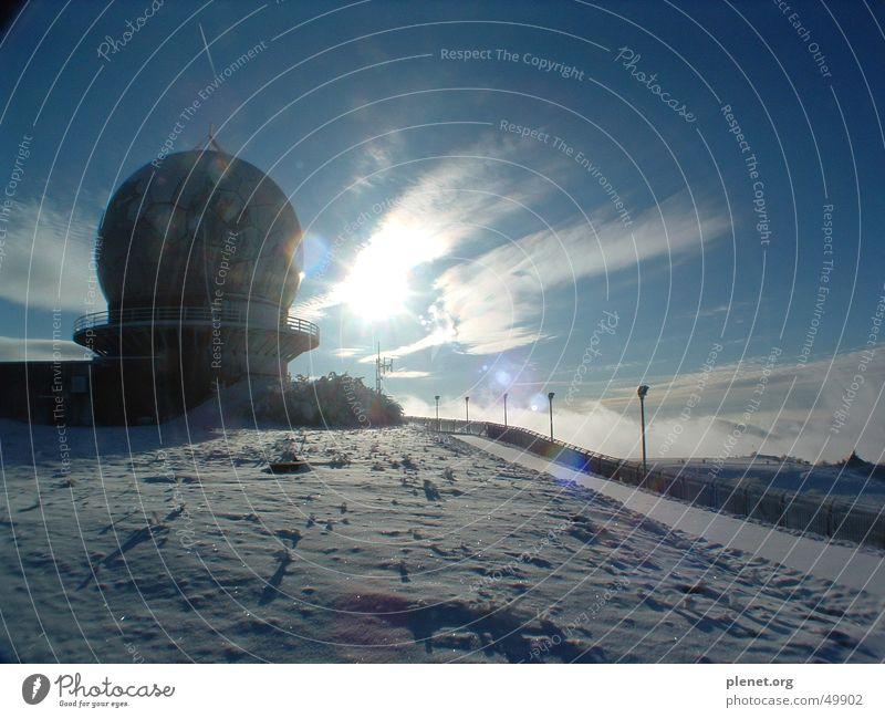 Radom Himmel Sonne Schnee Berge u. Gebirge Landkreis Fulda Radarstation Funkturm Rhön Wasserkuppe