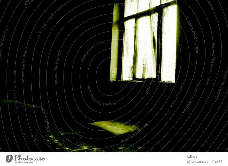 Green Room IV grün schwarz weiß Licht Fenster dunkel gruselig Wand Haus Raum Bett Zerstörung alt Kontrast Einsamkeit Wind