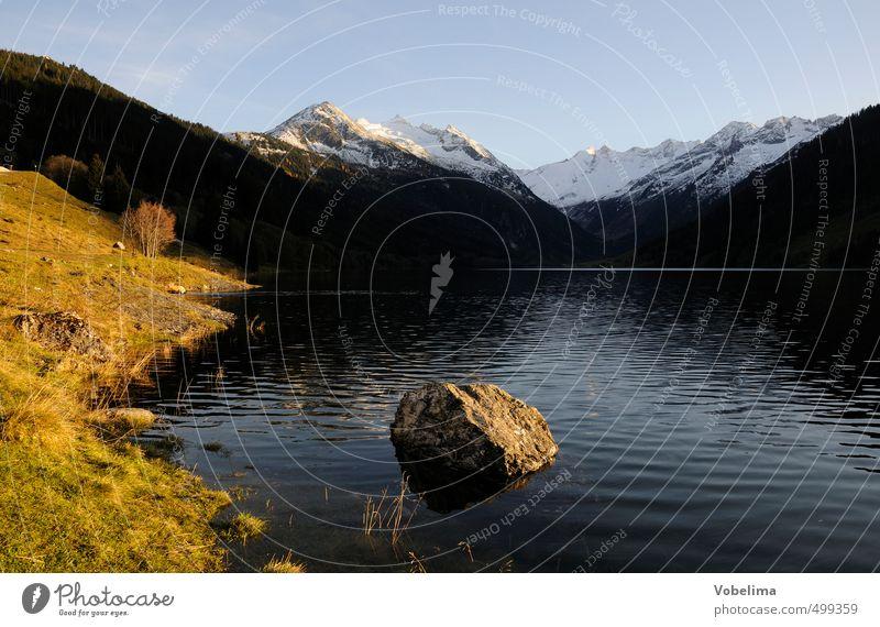 Bergsee, abends Himmel Natur blau weiß Wasser Einsamkeit Landschaft schwarz gelb Umwelt Berge u. Gebirge Herbst Küste See braun gold