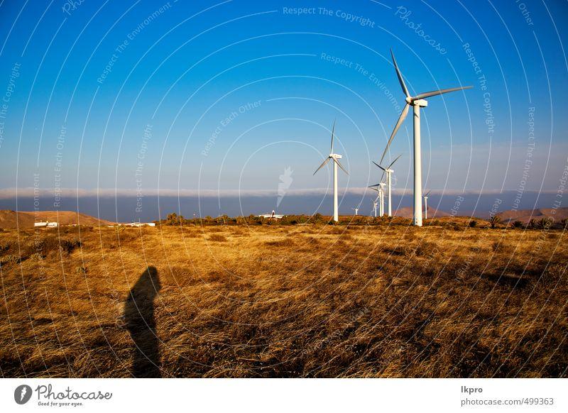 Himmel Natur Ferien & Urlaub & Reisen Pflanze Wolken Gras Architektur Metall Fassade dreckig Wind Energie Hügel Spanien Afrika Windkraftanlage
