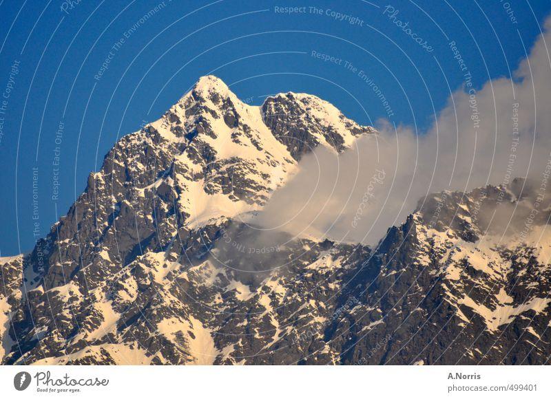 peak Natur Ferien & Urlaub & Reisen Landschaft kalt Berge u. Gebirge Schnee oben Freizeit & Hobby wandern hoch Spitze Abenteuer Gipfel planen Alpen Schneebedeckte Gipfel