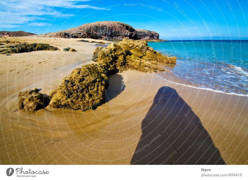 Himmel Natur Ferien & Urlaub & Reisen blau Sommer Meer Erholung Landschaft Wolken Strand schwarz gelb Küste Stein Sand Felsen