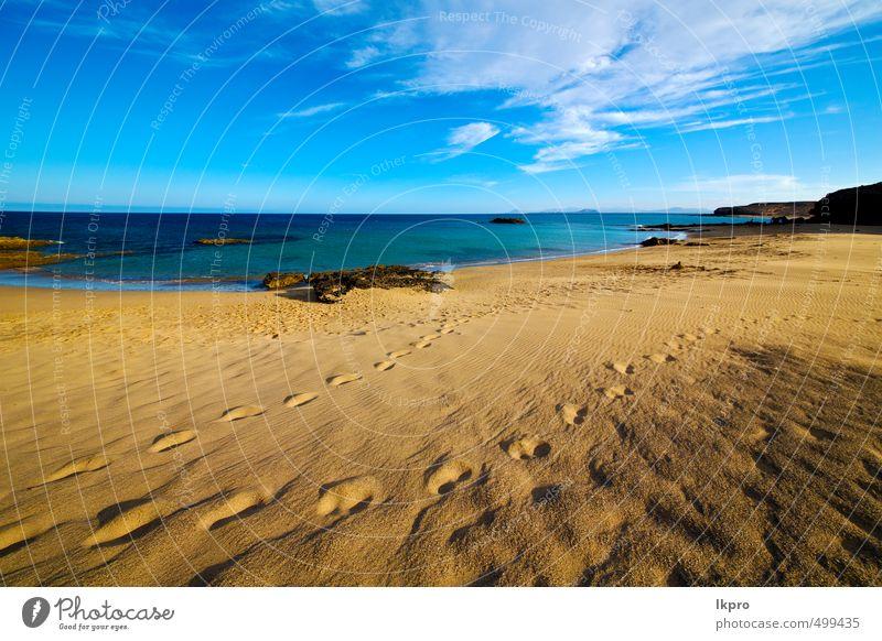 Himmel Natur Ferien & Urlaub & Reisen blau Sommer Erholung Meer Landschaft Wolken Strand gelb Küste Stein braun Felsen Sand