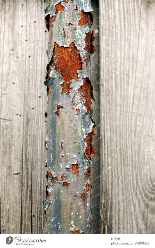 detail 4 alt grau Holz Metall braun Fassade kaputt Vergänglichkeit Wandel & Veränderung verfallen Verfall Rost Röhren Riss Eisenrohr abblättern