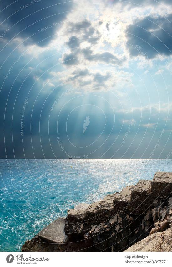 der Abstieg Himmel Wolken Sommer Küste Meer Treppe Gefühle Tod Verzweiflung Krise Ende Leben Misserfolg Abwärtsentwicklung Krisenstimmung Kroatien Italien