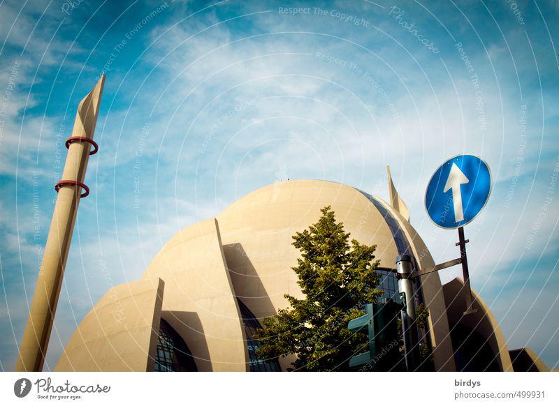 Ditib-Moschee in Köln Ehrenfeld Köln-Ehrenfeld Architektur Ditib Moschee Zeichen Verkehrszeichen Pfeil ästhetisch Minarett Gebetshaus blau gelb Akzeptanz Schutz