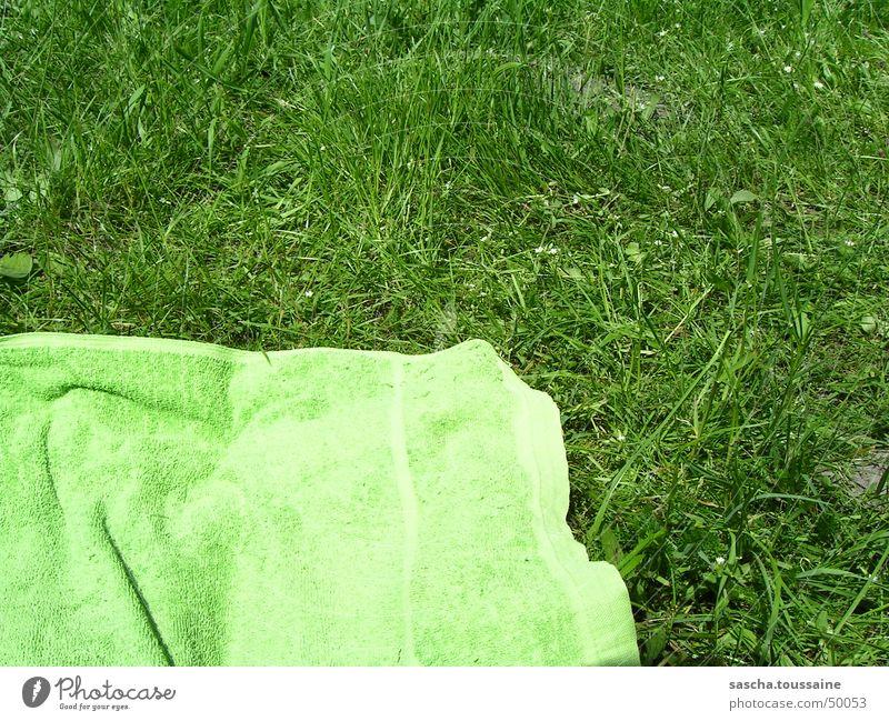 Grün auf grün / green at green Sonne grün Sommer Strand Wiese Gras Rasen liegen Freizeit & Hobby Schwimmen & Baden Stoff Sonnenenergie Sonnenbad Handtuch