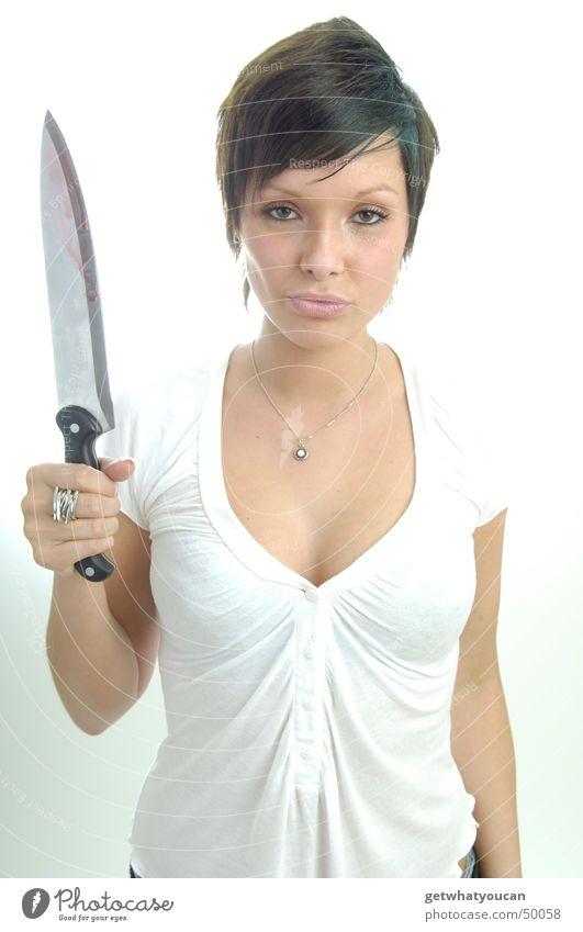 Hart aber herzlich Teil1 Frau schön böse töten Messer Gewalt Tod bedrohlich hinterlistig Mord Klinge