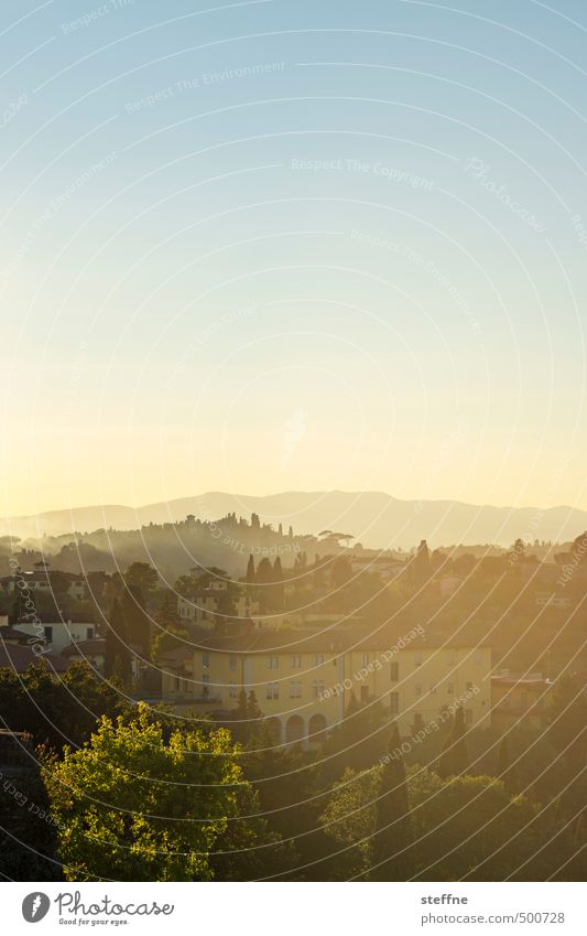 Toscana Landschaft Wolkenloser Himmel Sonnenaufgang Sonnenuntergang Sonnenlicht Frühling Sommer Herbst Schönes Wetter Hügel Florenz Toskana Italien Haus