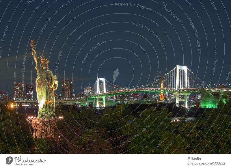 Rainbow Bridge bei Nacht Hauptstadt Skyline Hochhaus Brücke Architektur Romantik Tokyo Japan Freiheitsstatue odaiba HDR Tokyo Tower Farbfoto Außenaufnahme