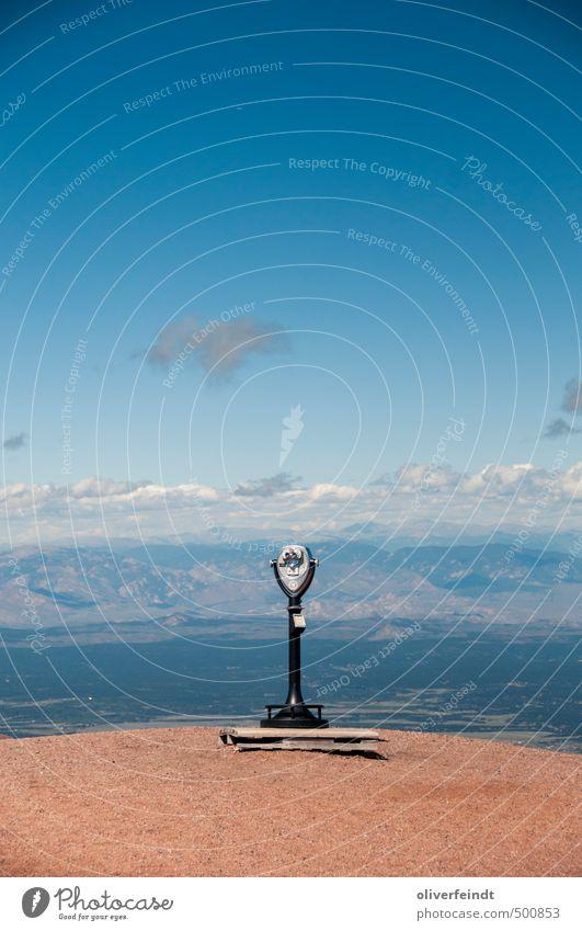 Ausblick Ausflug Ferne Freiheit Sommer Berge u. Gebirge wandern Umwelt Natur Landschaft Himmel Wolken Schönes Wetter Hügel Rocky Mountains Gipfel Fernglas Wärme
