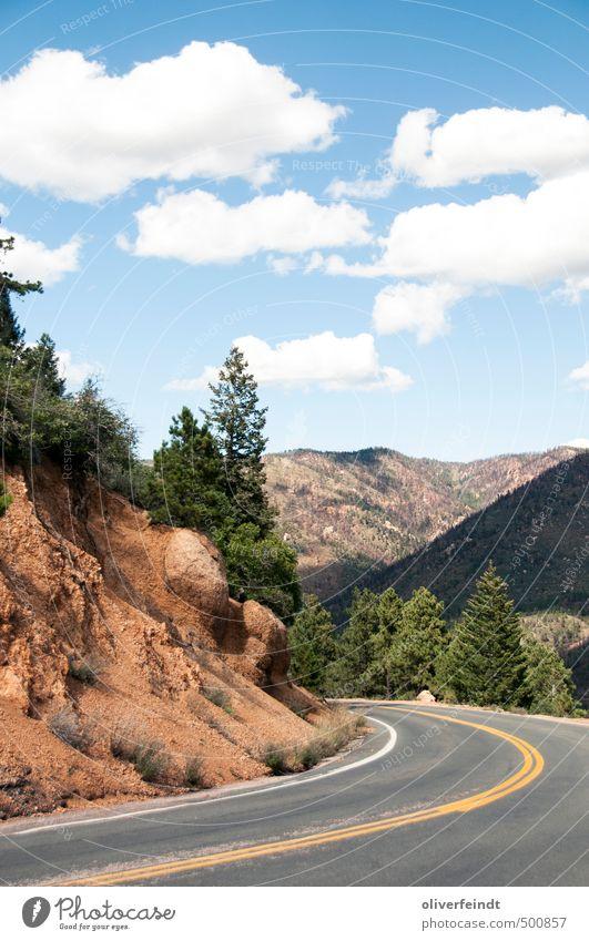 Kurve III Tourismus Ausflug Abenteuer Ferne Freiheit Berge u. Gebirge wandern Umwelt Natur Landschaft Himmel Wolken Sommer Schönes Wetter Wärme Baum Wald Hügel