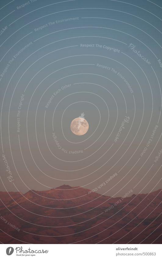 Mond II Himmel Natur Ferien & Urlaub & Reisen blau Erholung rot Landschaft ruhig Ferne Umwelt Berge u. Gebirge Wärme Freiheit braun Felsen wandern