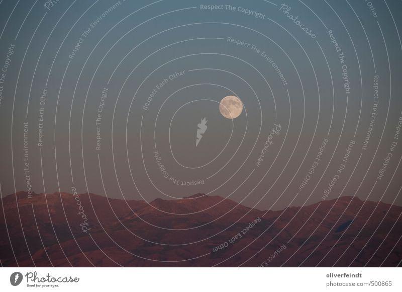 Mond I Himmel Natur Ferien & Urlaub & Reisen blau rot Landschaft Ferne Umwelt Berge u. Gebirge Wärme Freiheit braun Felsen Stimmung wandern Schönes Wetter