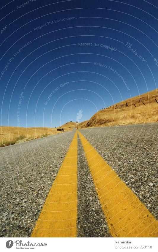 online2 blau Sonne gelb Straße Wege & Pfade Gras Sand Linie Geschwindigkeit Wüste Unendlichkeit Ewigkeit trocken Kalifornien Los Angeles