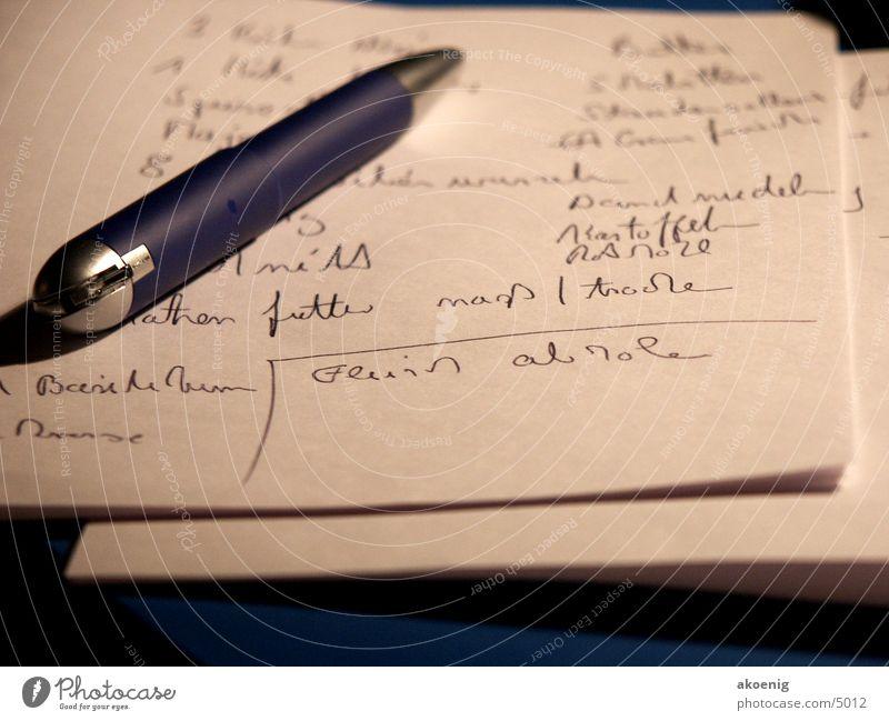 Einkaufsliste Leben Futter Schriftsteller Fototechnik Kugelschreiber Beruf