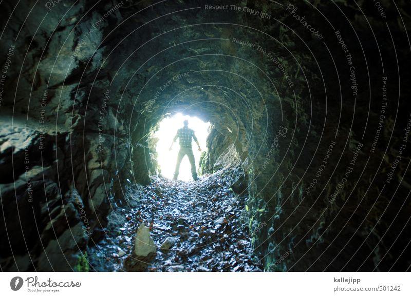 höhlenmensch Mensch maskulin Mann Erwachsene Leben Körper 1 30-45 Jahre Umwelt Natur Landschaft Pflanze Tier Erde stehen Höhle Höhlenwohnung Tunnel Tunnelblick