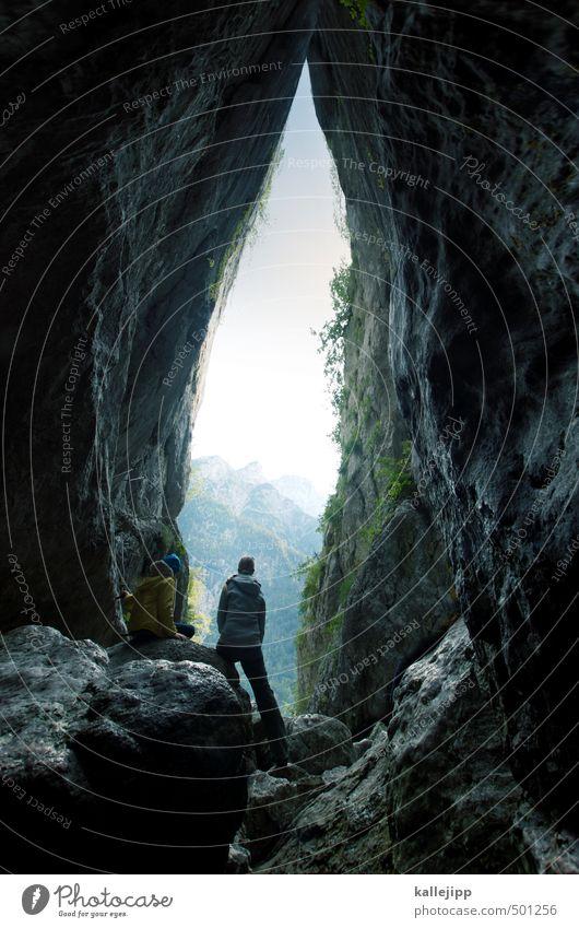 steinzeit Mensch feminin Frau Erwachsene Körper 1 30-45 Jahre Umwelt Natur Landschaft Himmel Felsen Alpen Berge u. Gebirge Gipfel stehen hoch Aussicht Höhle