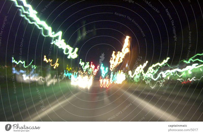 blurry lights Nacht Club Licht Straße
