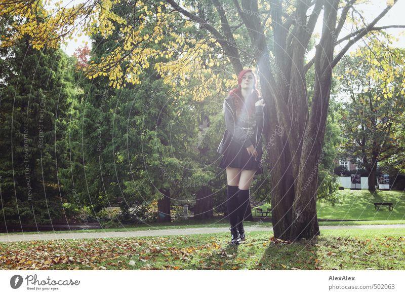 Portrait im Herbst Jugendliche schön Baum Junge Frau 18-30 Jahre Erwachsene Erotik Leben Wiese Gras Beine Park warten Schönes Wetter ästhetisch retro