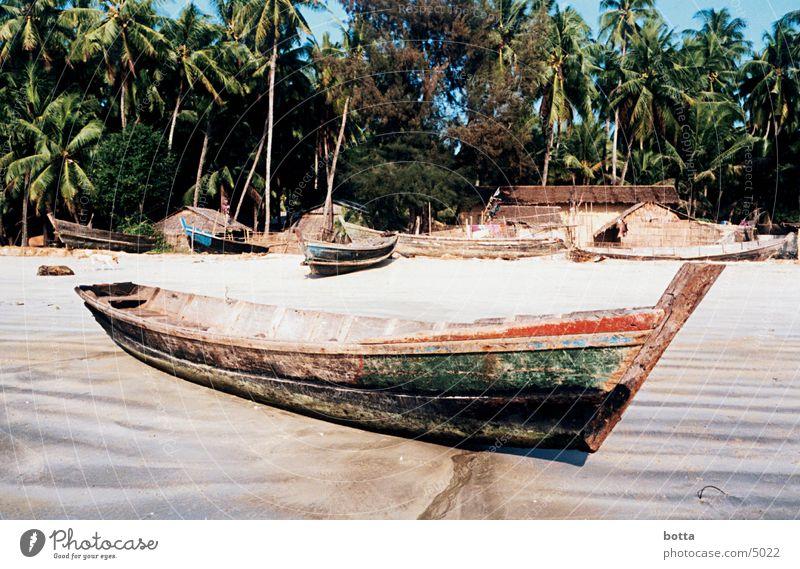 Ein Schiff wird kommen Strand Wasserfahrzeug Küste Asien Amerika Myanmar