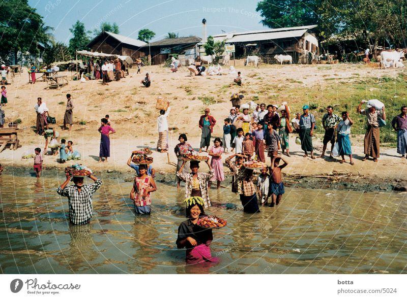 Am Fluss Mensch Farbe Myanmar