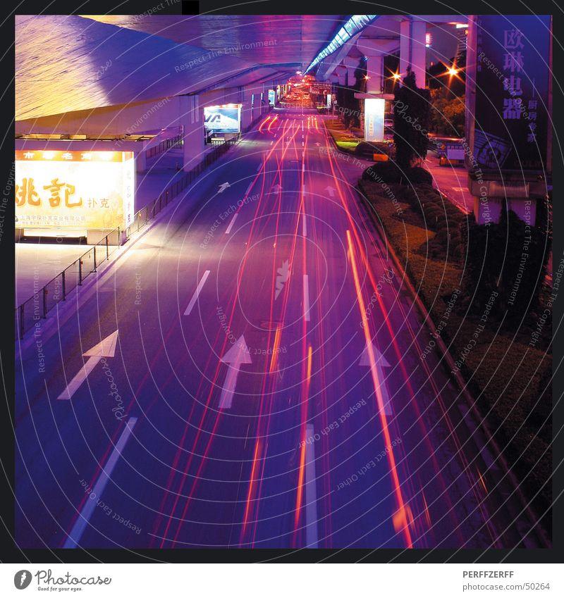 Shanghai Surprise Langzeitbelichtung Autobahn Nacht Fahrzeug Fahrbahn China Autobahnkreuz Straße