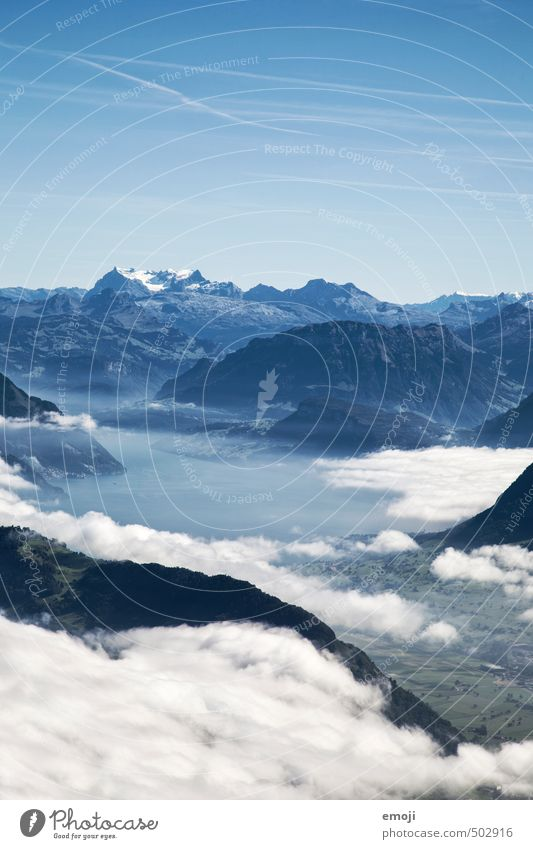 benebelt Umwelt Natur Landschaft Wolken Sommer Schönes Wetter Alpen Berge u. Gebirge natürlich blau Schweiz Farbfoto Außenaufnahme Menschenleer