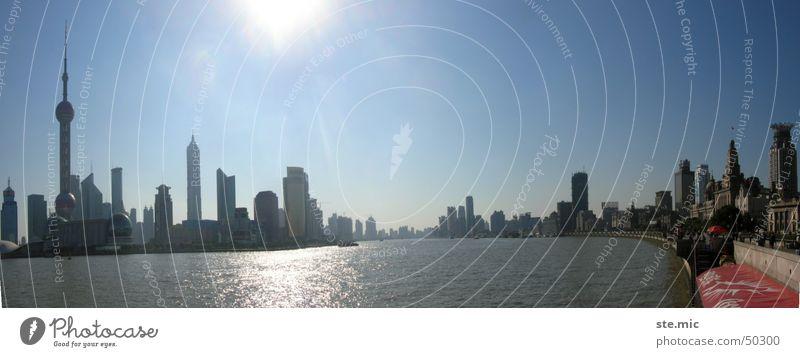 Skyline Shanghai 1 Wasser Sonne modern neu Fluss Skyline China Fernsehturm Shanghai Hafenstadt Huang Pu Fluß