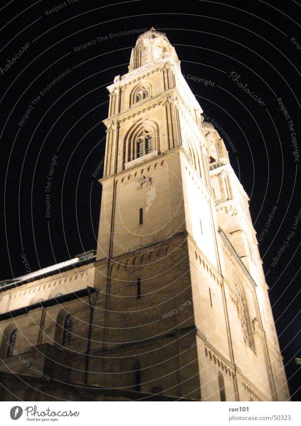 ChurcH Kirchturm Religion & Glaube Protestantismus Katholizismus Fenster dunkel Nacht schwarz church reformiert Reiter Beleuchtung