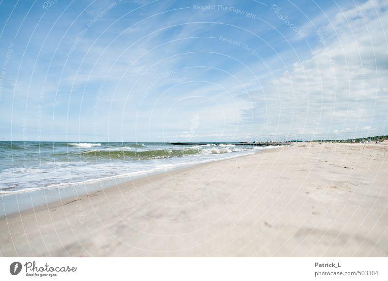 Ostsee Strand Meer Wellen Sand Wasser Himmel frei blau Reinheit Sehnsucht Fernweh Deutschland Gischt weiß Erholungsgebiet Farbfoto Außenaufnahme Menschenleer